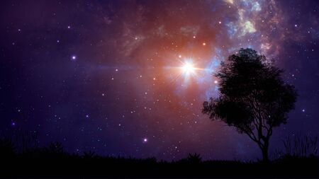 Space scene. Violet nebula with land and tree silhouette.