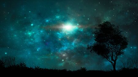 Space scene. Blue nebula with land and tree silhouette.