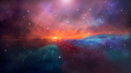 Space background. Colorful nebula with stars.