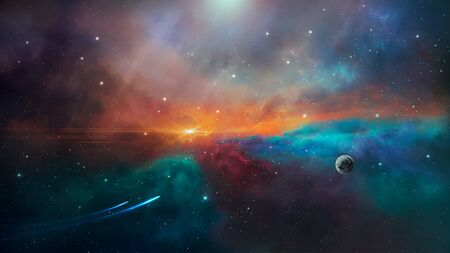 Space scene. Colorful nebula with planet and two trail.
