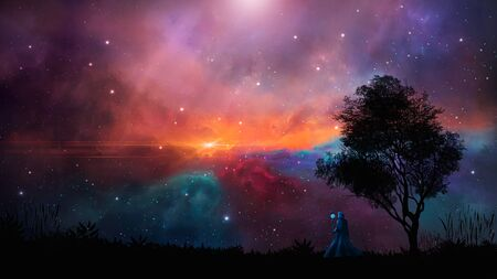 Space scene. Magician stand on landscape silhouette with colorful nebula,