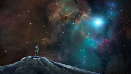 Space scene. Man stand on rock with colorful nebula and stars.