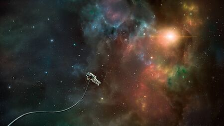 Space scene. Astronaut fly in colorful nebula.