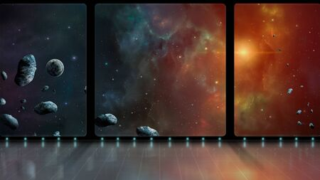 Space scene. 3D room with windows with colorful nebula, planet and asteroid.