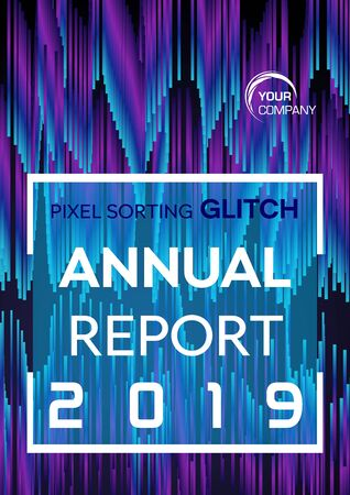 Pixel sorting glitch style in violet and blue color. Annual report, flyer, abstract background concept