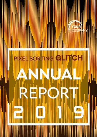 Pixel sorting glitch style in gold color. Annual report, flyer, abstract background concept 일러스트