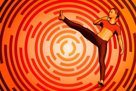 Cartoon woman make karate kick on circular background. 3D illustration