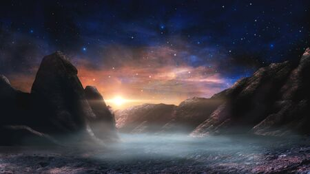 Sci-fi magical landscape with rock valey, star and sun. Digital painting illustration.