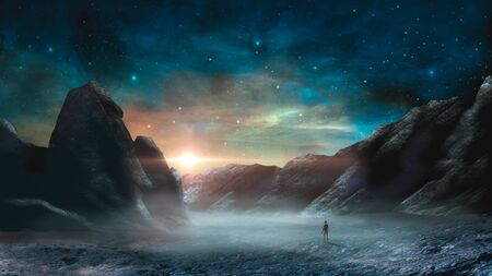 Man standing in sci-fi magical landscape with rock valey, star and sun. Digital painting illustration. Stock Photo