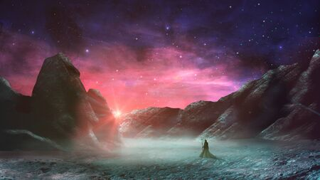 Magician standing in sci-fi magical landscape with rock valey, star and sun. Digital painting illustration.