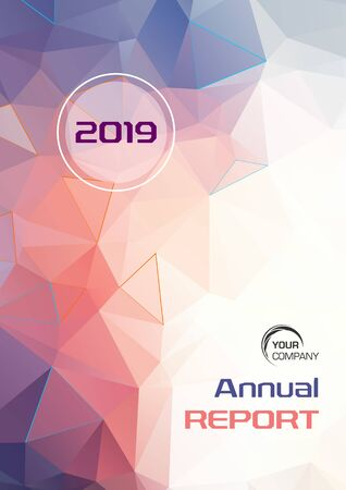 Modern vector flyer, annual report, brochure cover, background with low poly triangle