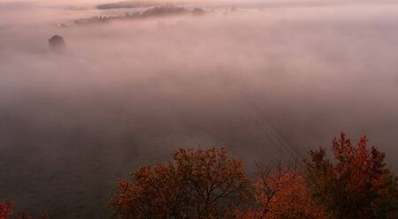 Aerial view to autumn misty fog, trees and path, Czech landscape