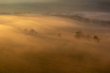 Aerial view to autumn trees in misty gold fog, Czech landscape Reklamní fotografie