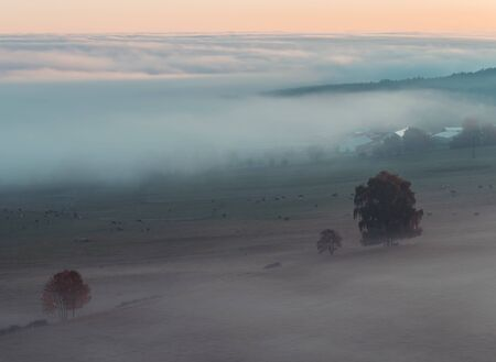Aerial view to autumn misty trees in fog and sunrise sky, Czech landscape