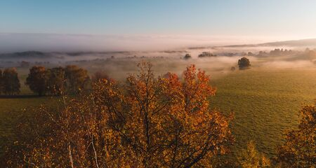 Aerial view to colorful autumn foliage trees with misty fog on meadow and blue sky, Czech landscape, colored photo