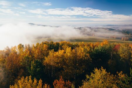 Aerial view to autumn foliage trees with misty fog and hill in sunrise, Czech landscape, colored photo