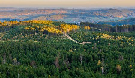 Aerial view to autumn forest from lookout Nebelstein, Austria landscape Reklamní fotografie
