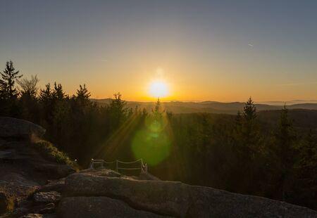 Sunset on lookout Nebelstein, Austria landscape Reklamní fotografie