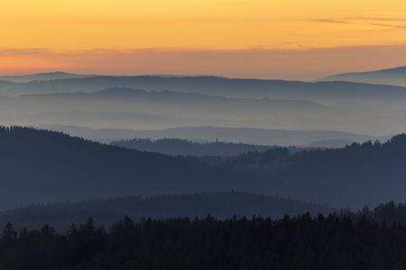 Detail of distant hill from lookout Nebelstein on sunset, Austria landscape Reklamní fotografie