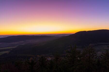 Nice sunrise from Kravi mountain, blue hour, Czech republic
