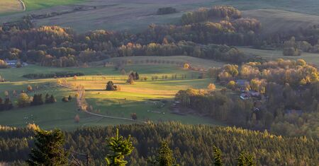 Aerial view to autumn meadow and tree at sunrise from Kravi mountain, Czech republic