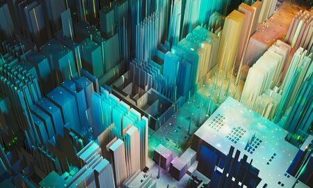 Abstract modern city, PCB, big data background. Colorful block with small light, 3D render