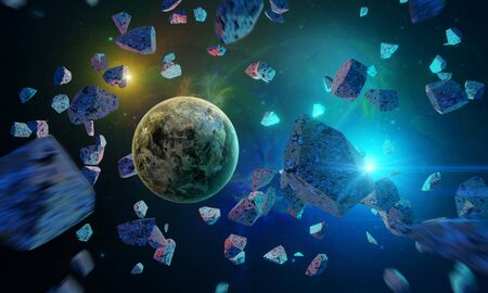 Space background. Planet in asteroids with colorful nebula. Elements furnished by NASA. 3D rendering Stock fotó