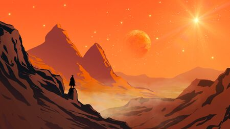 Cowboy silhouette standing on mountain rock valley landscape with planet and star on sky. Elements furnished to NASA