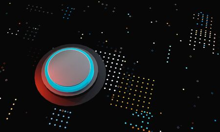 Colorful 3d button on dotted background. Business, big data concept for place logo or text