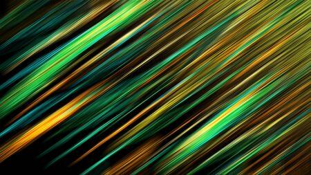 Futuristic geometry background. Neon vibrant line in green and orange color