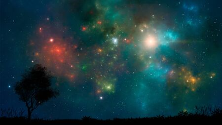 Space background. Colorful nebula with land and tree silhouette. Elements furnished by NASA. 3D rendering