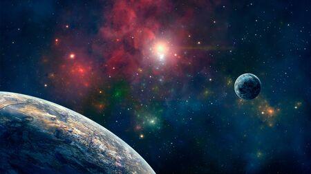 Fond de l'espace. Nébuleuse colorée avec deux planètes. Éléments fournis par la NASA. rendu 3D