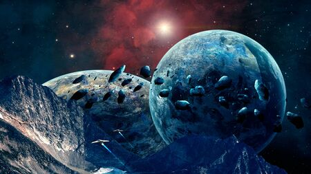 Space scene. Mountain with nebula, planet, asteroid and spaceship. Elements furnished by NASA. 3D rendering Stock fotó