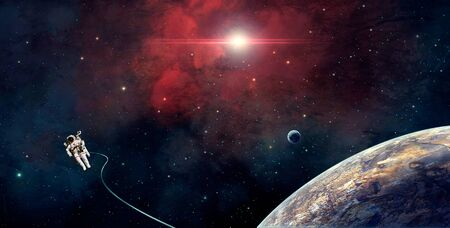Space scene. Astronaut fly in red nebula with planet. Elements furnished by NASA. 3D rendering Stock fotó