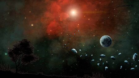 Space scene. Red and green nebula with planet, land and asteroid. Elements furnished by NASA. 3D rendering