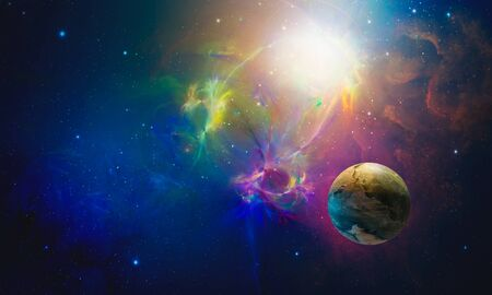 Space background. Colorful fractal nebula with planet. Elements furnished by NASA. 3D rendering Stock fotó