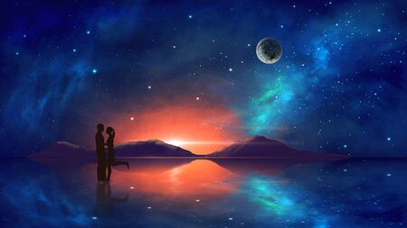 Couple in embrace with colorful nebula, mountain and milky way reflection in water. Elements furnished by NASA. 3D rendering