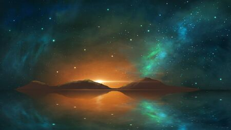 Space background. Colorful nebula with mountain, milky way reflection in water. Elements furnished by NASA. 3D rendering