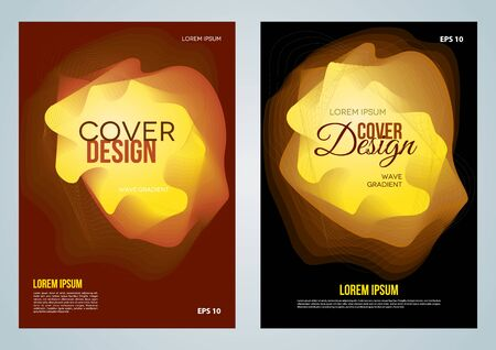 Set of two vector cover design, flyer, corporate business, annual report, brochure design with gold gradient