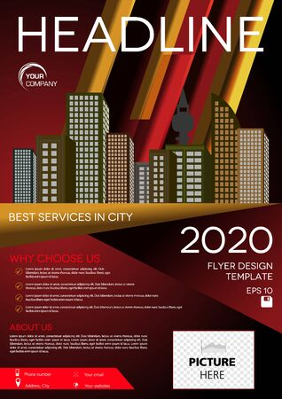 Vector flyer, corporate business, annual report, brochure design and cover presentation with vector city on red gradient background Illustration