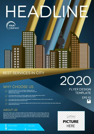 Vector flyer, corporate business, annual report, brochure design and cover presentation with vector city on blue gradient background Illustration