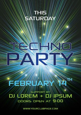 Techno party vector flyer template with green and blue exlosion, tunnel element Ilustração