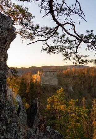 Old ruin Divci kamen with rock and tree at morning sunrise. Czech republic Reklamní fotografie