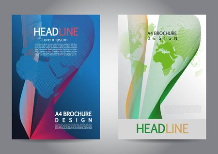 Vector template set of two brochure cover design. A4 flyer, corporate presentation with dotted world map