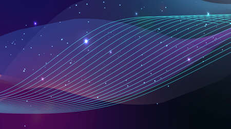 Violet line wave with small particle dots. Abstract background illustration Stock fotó