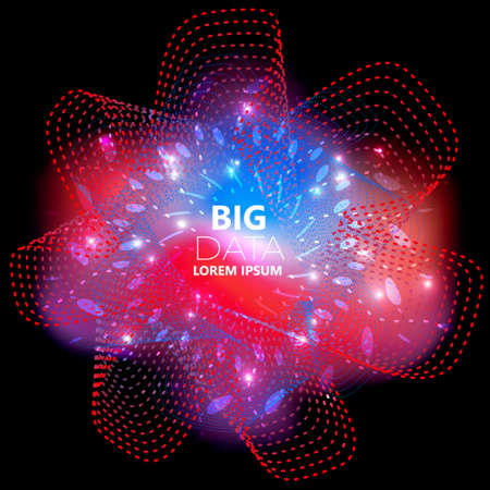 Abstract square technology, big data background with red, blue wave and small particle Ilustracja
