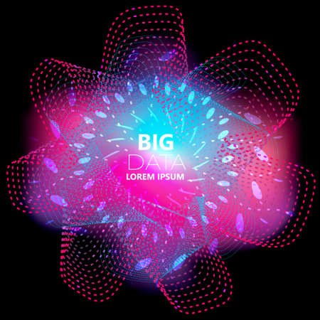 Abstract square technology, big data background with violet, blue wave and small particle