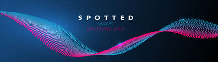 Vector colorful particle wave in blue and violet color on gradient background