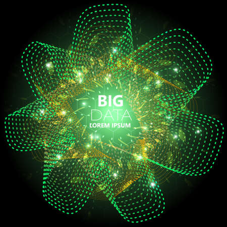 Abstract square technology, big data background with green, orange wave and small particle
