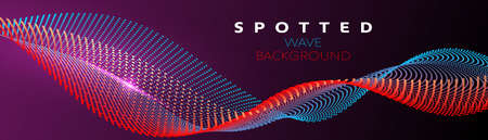 Vector colorful particle wave in blue and red color on gradient background Ilustracja